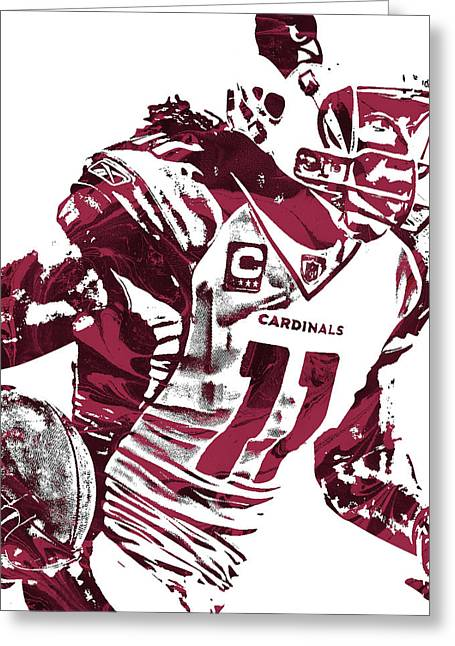 Greeting Card featuring the mixed media Larry Fitzgerald Arizona Cardinals Pixel Art 1 by Joe Hamilton