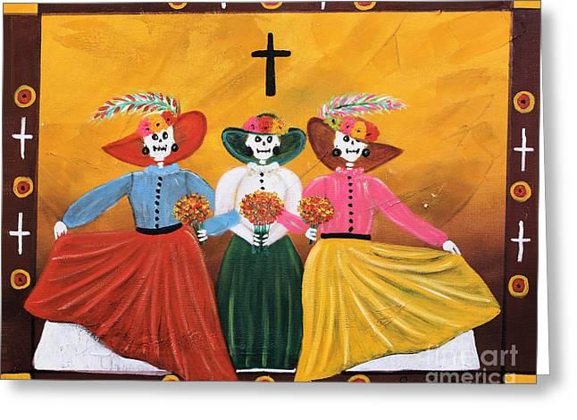 Las Catrinas Greeting Card by Sonia Flores Ruiz