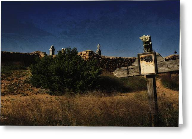 Las Cruces De Galisteo Greeting Card by Karen Slagle