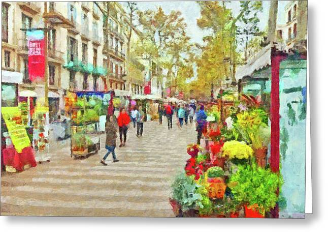 Greeting Card featuring the digital art Las Ramblas In Barcelona by Digital Photographic Arts