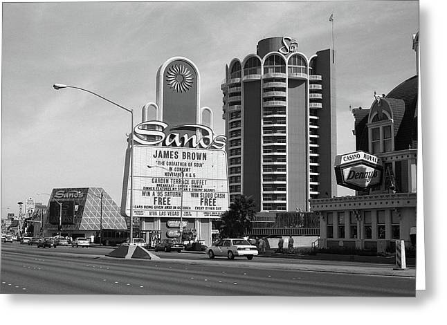 Greeting Card featuring the photograph Las Vegas 1994 #1 Bw by Frank Romeo