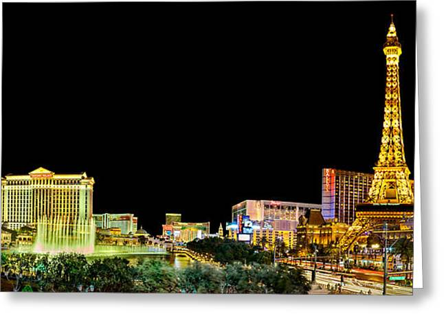 Las Vegas At Night Greeting Card by Az Jackson
