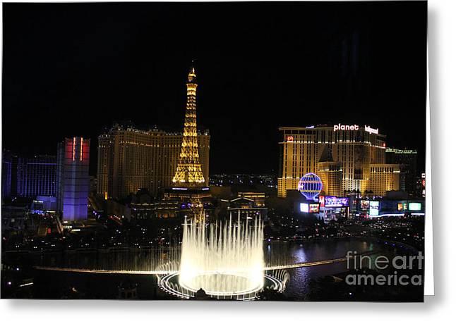 Las Vegas By Night Greeting Card by Wilko Van de Kamp