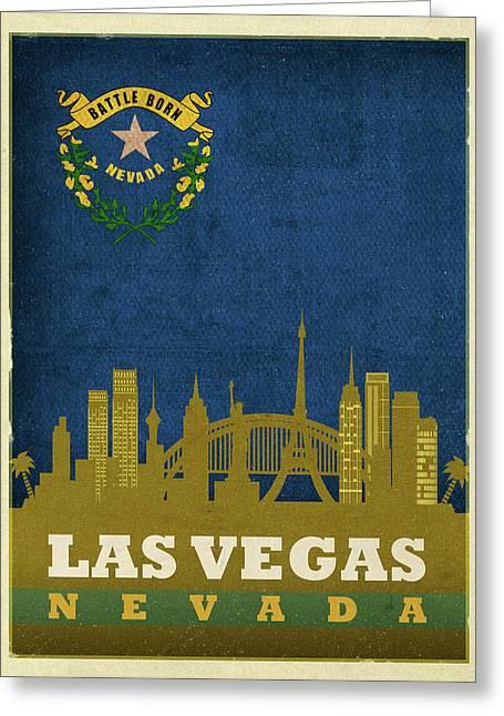 Las Vegas City Skyline State Flag Of Nevada Art Poster Series 018 Greeting Card