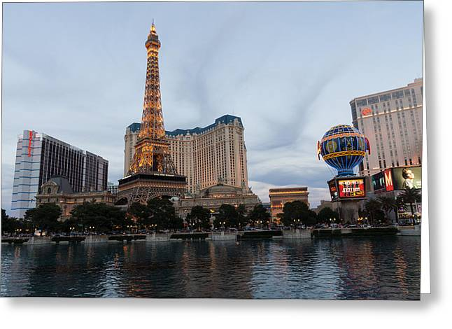 Las Vegas - All Lit And Glamorous On A Cloudy Day Greeting Card by Georgia Mizuleva