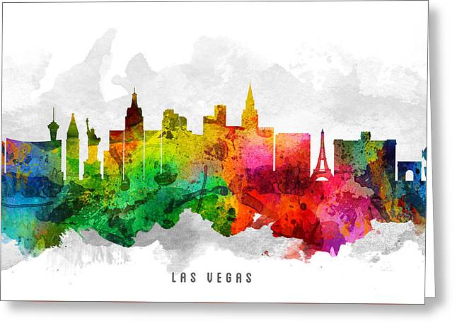 Las Vegas Nevada Cityscape 12 Greeting Card by Aged Pixel