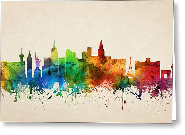Las Vegas Nevada Skyline 05 Greeting Card by Aged Pixel