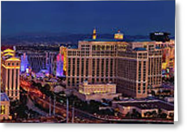 Greeting Card featuring the photograph Las Vegas Panoramic Aerial View by Susan Candelario