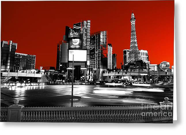 Las Vegas Red Fusion Greeting Card by John Rizzuto