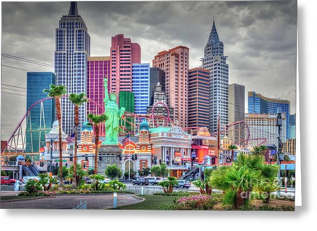 Las Vegas Show Time Ny Ny Hotel Greeting Card