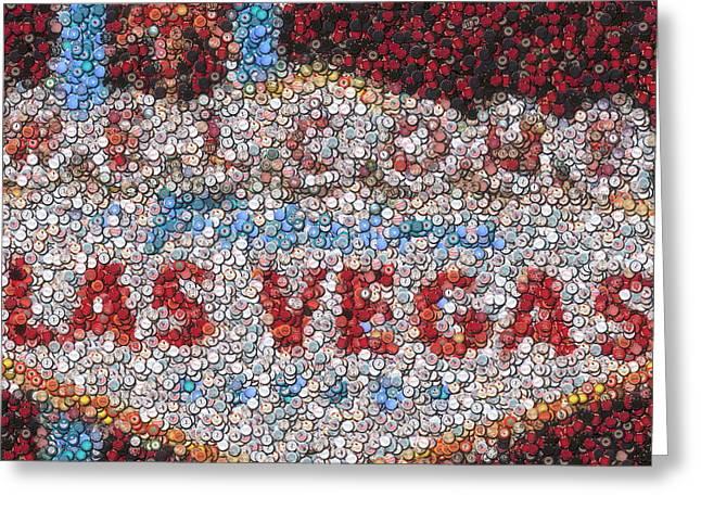Las Vegas Sign Poker Chip Mosaic Greeting Card by Paul Van Scott