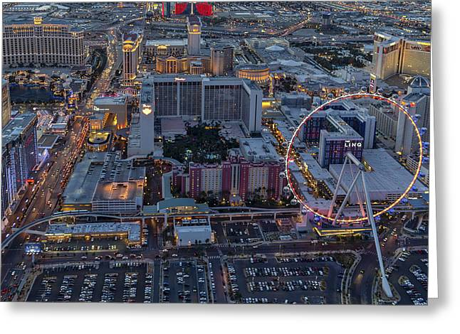 Las Vegas Strip Aerial Greeting Card by Susan Candelario