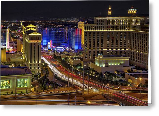Las Vegas Strip Aerial View - Greeting Card by Susan Candelario