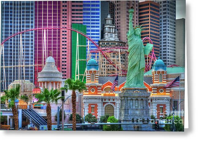 Las Vegas Strip Ny Ny Hotel Sunrise Greeting Card