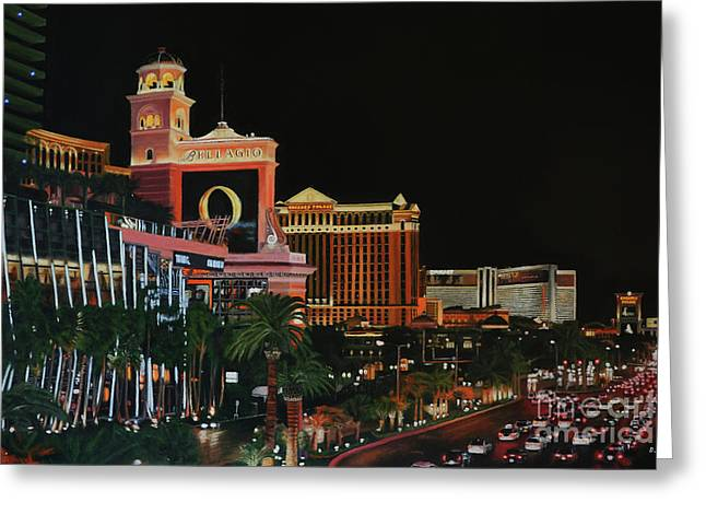 Las Vegas Strip Oil On Canvas Painting Greeting Card