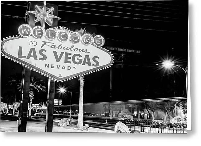 Las Vegas Welcome Sign Lights In Black And White Greeting Card by Gregory Ballos