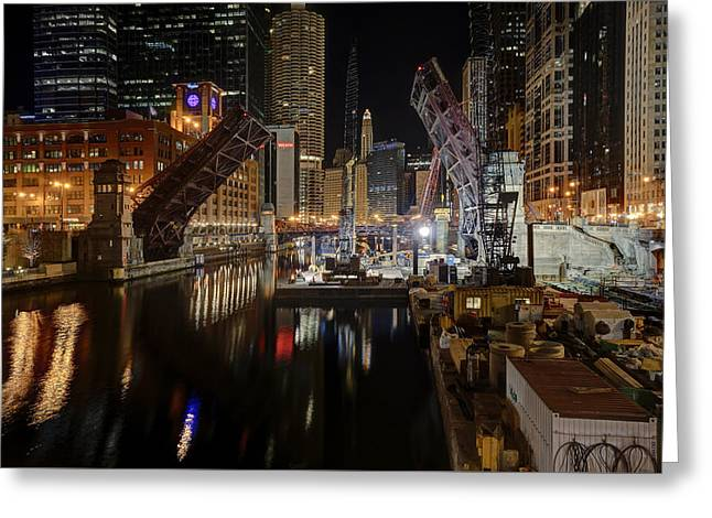Lasalle St Draw Bridge Maintenance - Chicago River Greeting Card by Daniel Hagerman