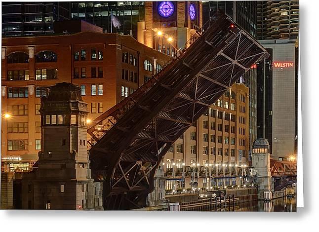 Lasalle Street Bridge Up - Chicago Greeting Card