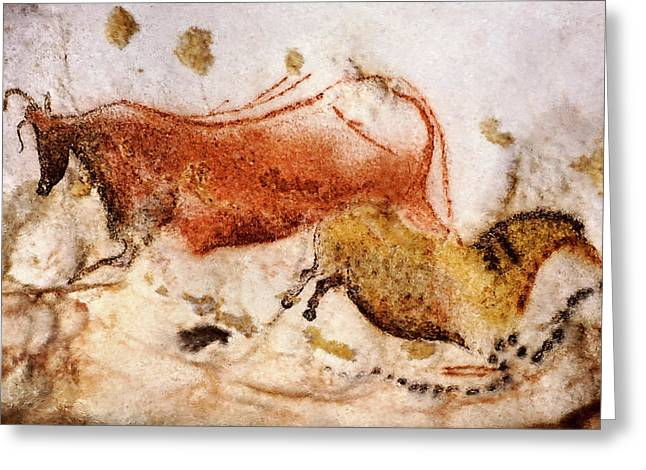 Lascaux Cow And Horse Greeting Card