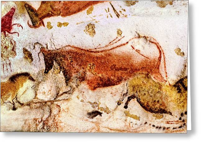 Lascaux Cow And Horses Greeting Card