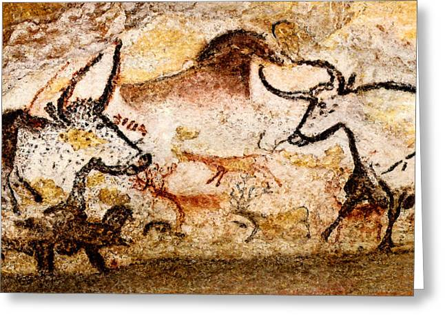 Lascaux Hall Of The Bulls - Deer And Aurochs Greeting Card