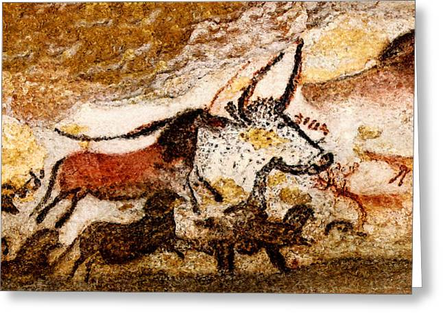 Lascaux Hall Of The Bulls - Horses And Aurochs Greeting Card