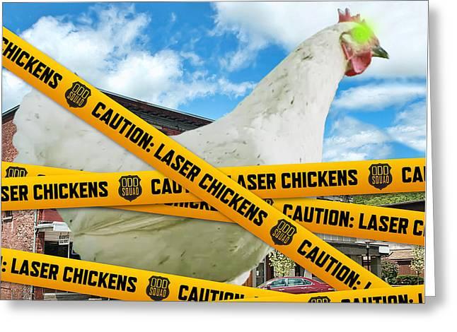 Laser Chicken Greeting Card by Odd Squad