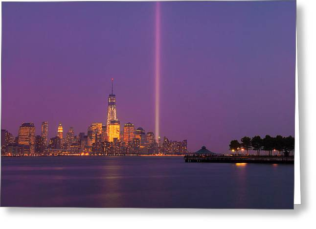 Laser Twin Towers In New York City Greeting Card