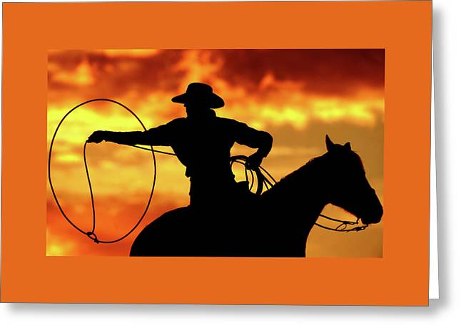 Lasso Sunset Cowboy Greeting Card