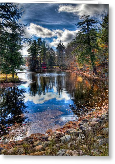 Last Bit Of Fall Color At The Boathouse Greeting Card by David Patterson