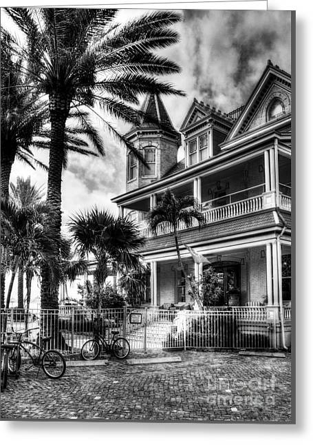 Last House In Key West Bw Greeting Card by Mel Steinhauer