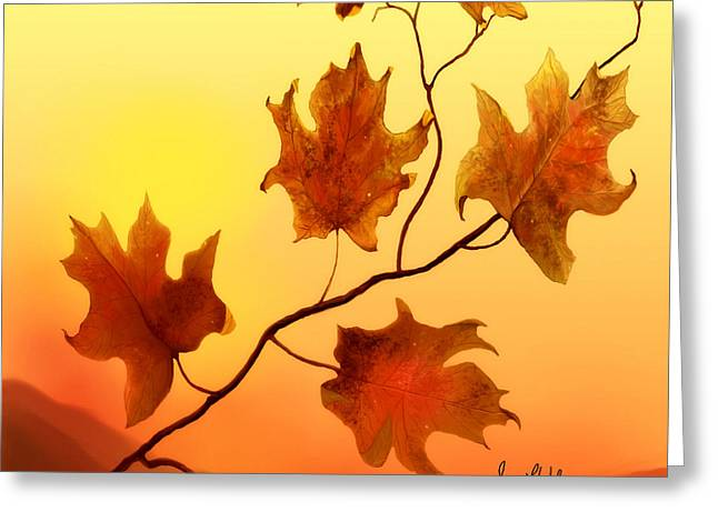 Greeting Card featuring the painting Last Leaves by Sena Wilson