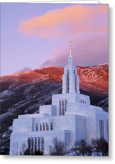 Last Light At Draper Temple Greeting Card by Chad Dutson