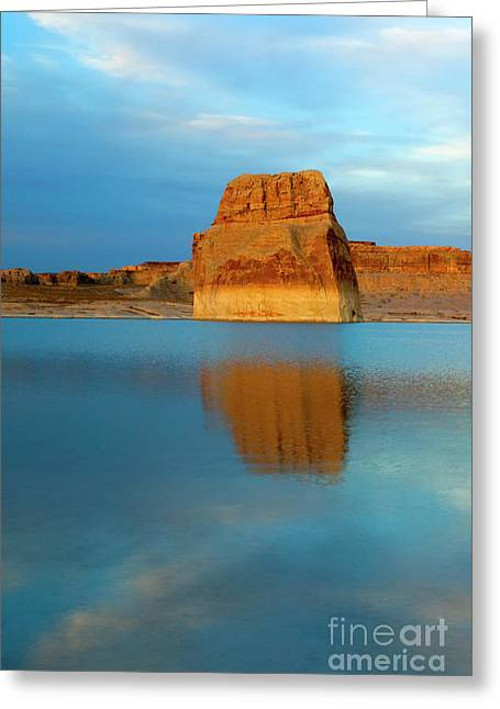 Greeting Card featuring the photograph Last Light At Lone Rock by Mike Dawson
