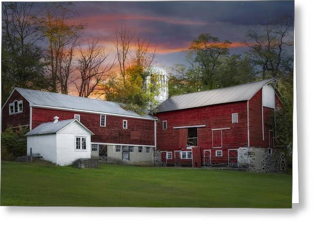 Last Light At The Red Barn Greeting Card by Susan Candelario