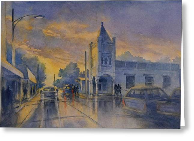 Last Light, High Street At Seventh Greeting Card by Virgil Carter
