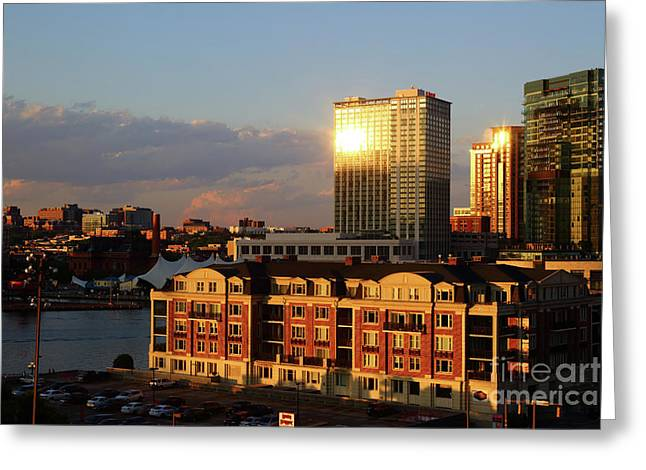 Last Light On Baltimore Harbor East District Greeting Card