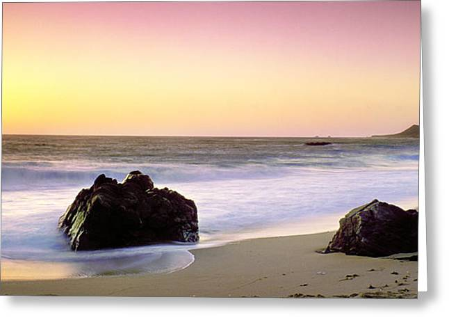 Last Light On Garrapata Beach Greeting Card by Edward MendesLigh