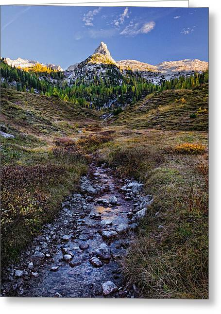 Greeting Card featuring the photograph Last Light On Lederkopf by Alexander Kunz