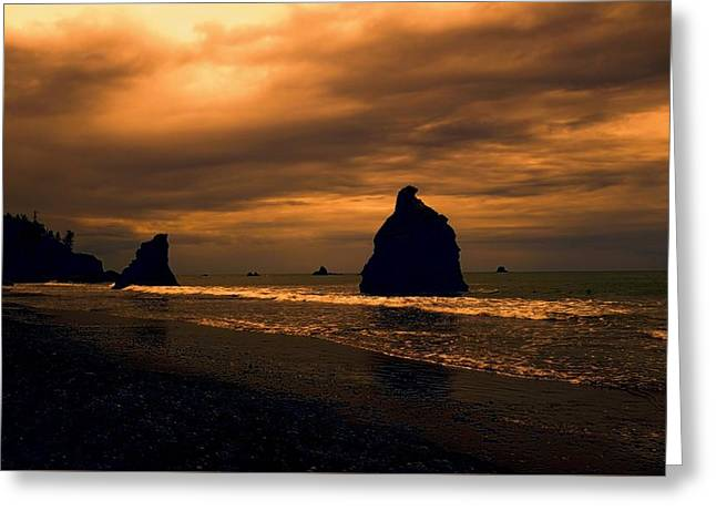 Last Light On Rialto Beach Greeting Card by Dan Sproul