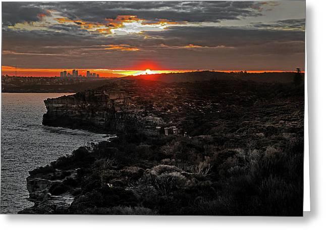 Greeting Card featuring the photograph Last Light Over North Head Sydney by Miroslava Jurcik
