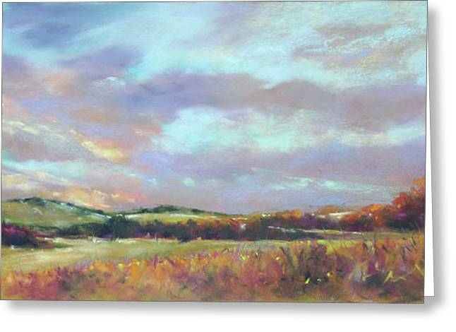 Last Light Over The Hills. France Greeting Card by Rae Andrews