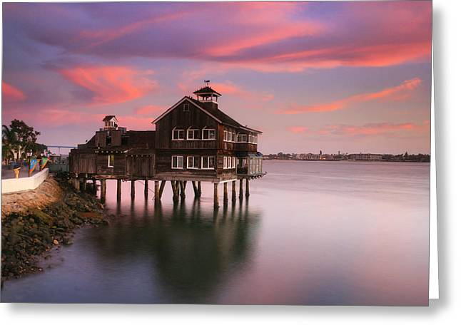 Last Light Pier Cafe Greeting Card