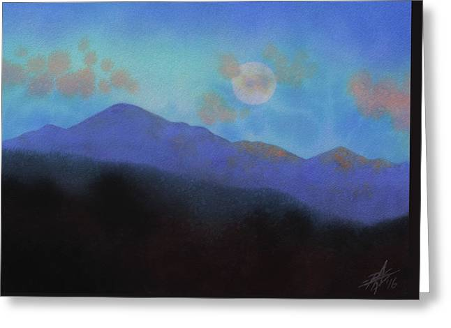 Last Light With Moonrise Over Iron Mountain Greeting Card by Robin Street-Morris