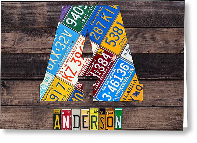 Last Name Letter A Monogram License Plate Art Custom Greeting Card