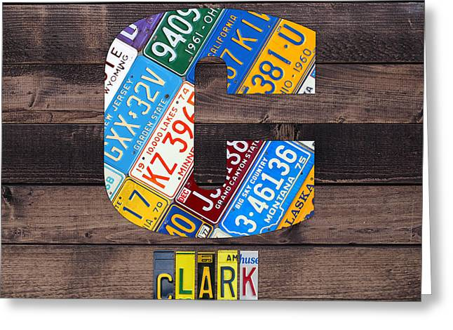 Last Name Letter C Monogram License Plate Art Custom Greeting Card