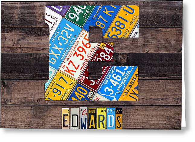 Last Name Letter E Monogram License Plate Art Custom Greeting Card