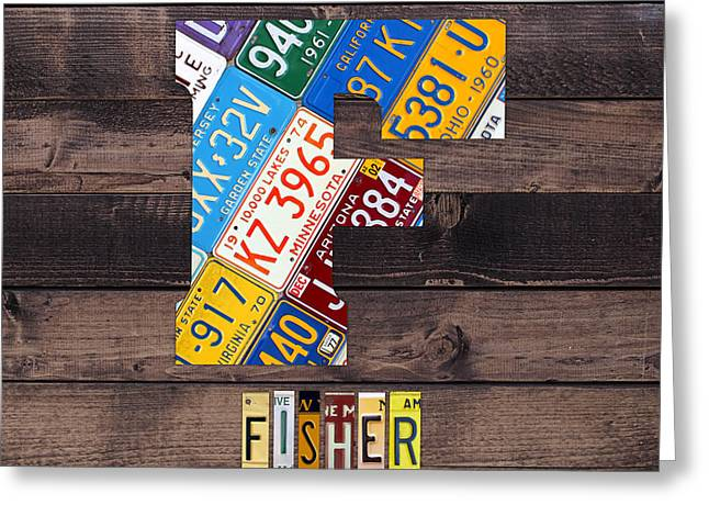 Last Name Letter F Monogram License Plate Art Custom Greeting Card