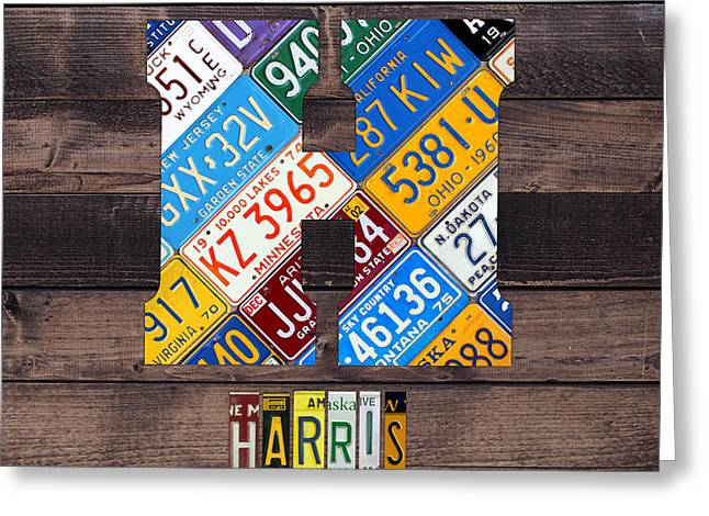 Last Name Letter H Monogram License Plate Art Custom Greeting Card