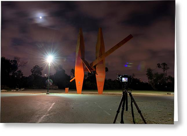 Greeting Card featuring the photograph Last Night In The Park by Dubi Roman